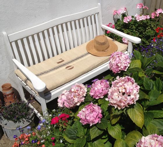 001 bench grain sack cushion Ellie Tennant