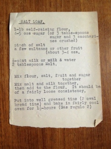 typed recipe malt loaf